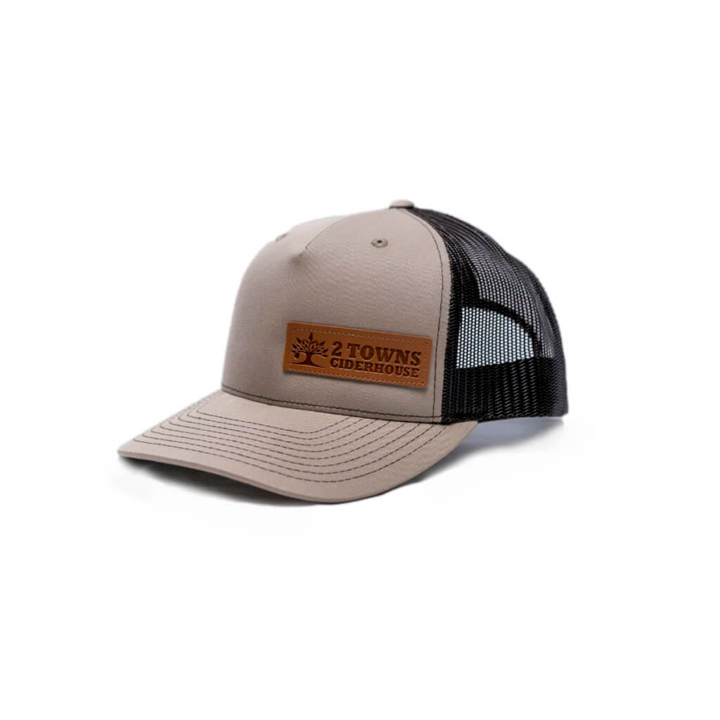 Brown Leather Patch Hat