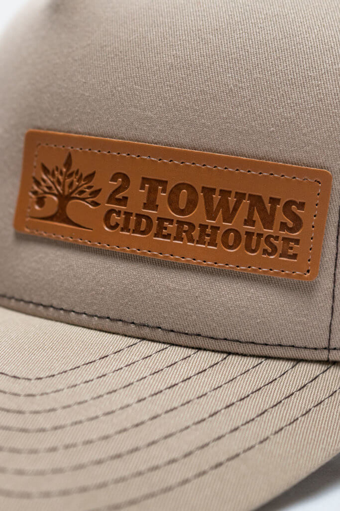 Brown Leather Patch Hat Detail