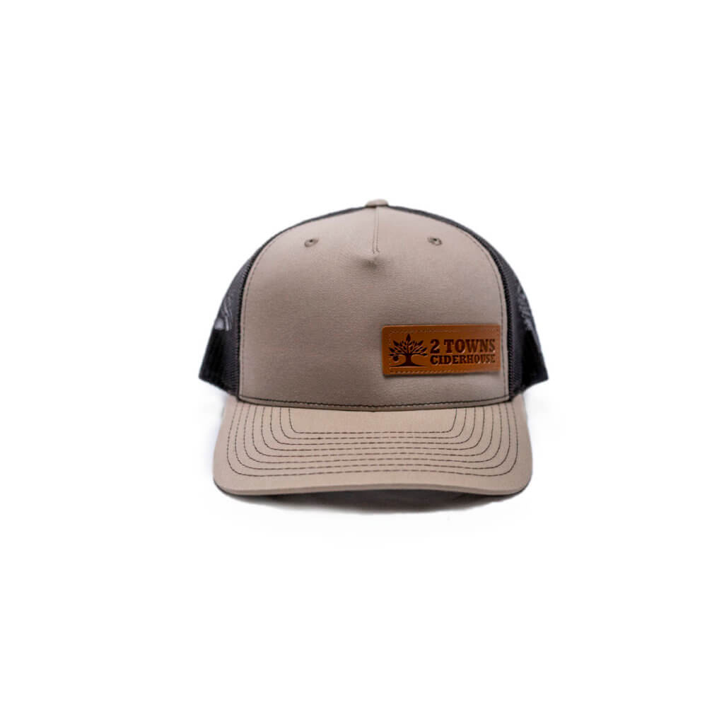 Brown Leather Patch Hat Front