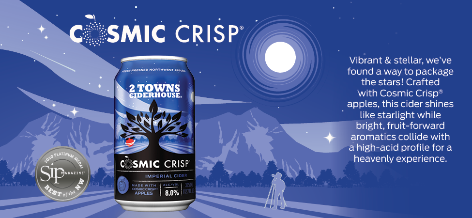 Graphic of Cosmic Crisp can set against logo artwork with profile description and listed awards.