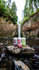 Three cans of Bold Leaf wine sitting on a rock in front of a waterfall.