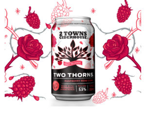 Two Thorns can on a white background with a design of red, white and gray roses, raspberries and thorns