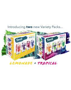 SeekOut Seltzer's new variety packs; Tropical and Lemonade variety packs.
